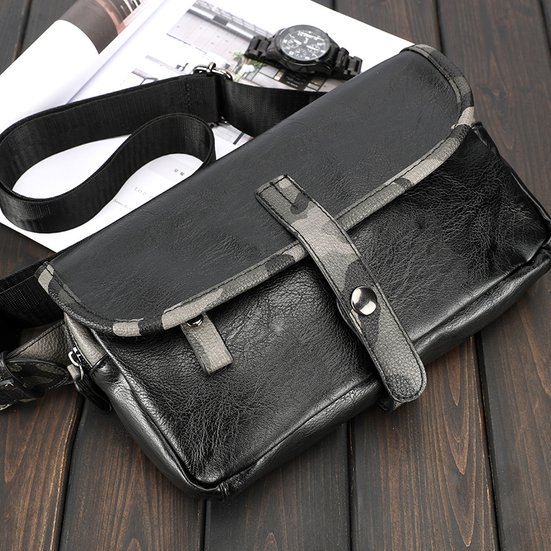PU Leather Mens Chest Bag Casual Pockets Crossbody Bags for Men Waterproof Single Shoulder Messenger Strap Pack