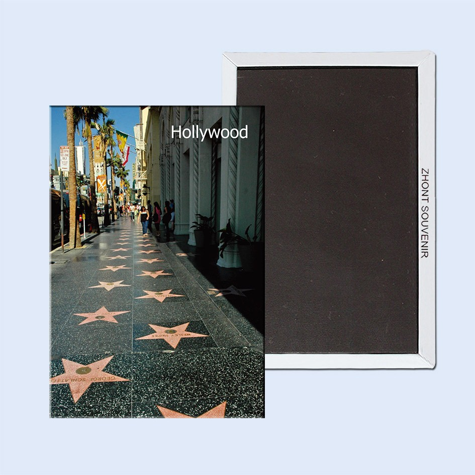Magneti da viaggio USA Memorabilia, US California Avenue of stars of Hollywood Rettangolo con magnete in metallo 5433 Turismo Souvenir