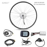 Electric Bicycle Conversion E Bike Kit, 48V 24V 36V 350W Front Wheel Brushless Hub Motor Electric Bike Ebike Set For 26 inch DIY