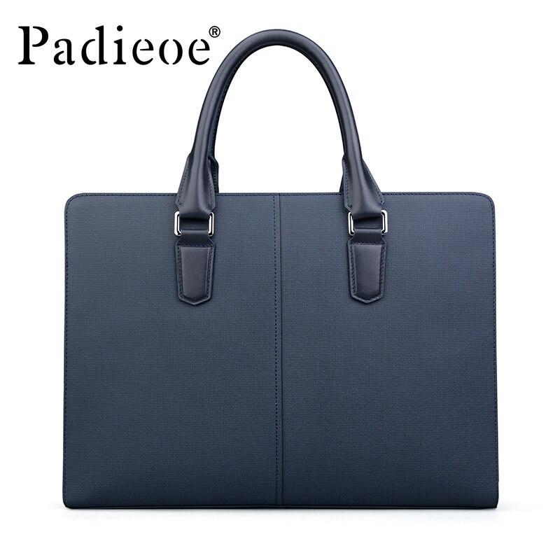 Padieoe Новое поступление Для мужчин Классические Разделение кожа Портфели Бизнес Высококачественная сумка торба для 14 дюймового ноутбука для мужчин NB161143 1 - 5