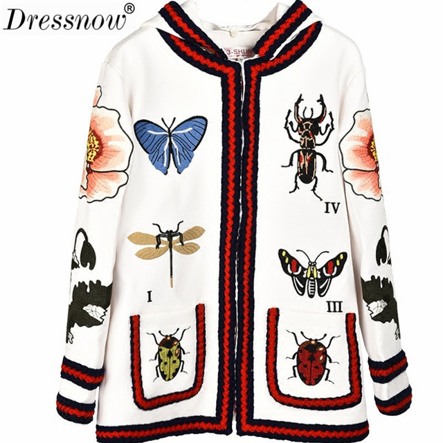 Dressnow Women Floral Animal Embroidery Hoodie Coat Sweet Embroided Hooded Jackets Spring Autumn White Cardigans Coat Jacket14