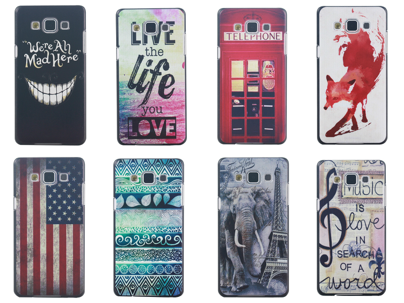 mad elephant telephone box UK USA Flag tree anchor hard plastic case Samsung Galaxy A7  -  Tim Ken's phone store store