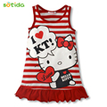 New  2016 girl lovely hello Kitty sleeveless clothes, two color red and pink clothes, free shipping