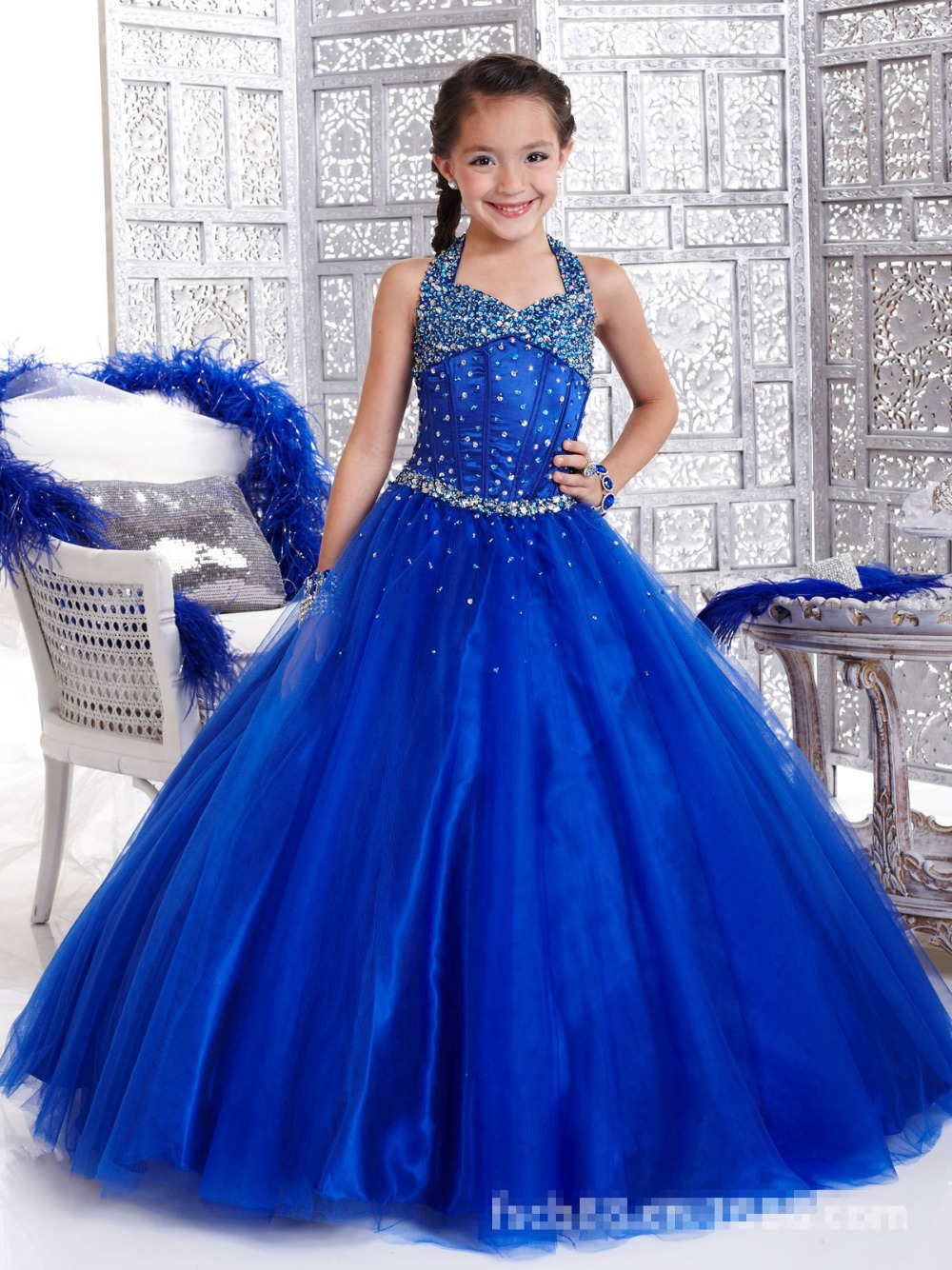 ФОТО Custom Girls Blue Set Auger Dresses Ball Gown Stage Performance Long Dress Princess Party Dress Flower Girls For Wedding Dresses