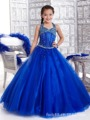 Custom Girls Blue Set Auger Dresses Ball Gown Stage Performance Long Dress Princess Party Dress Flower Girls For Wedding Dresses