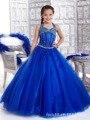 Personalizado Niñas Vestidos vestido de Bola Azul Del Taladro Del Sistema puesta en Escena Vestido Largo Vestidos de Partido de La Princesa Vestido de Las Muchachas de Flor Para La Boda