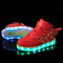 25-37 Taille/USB De Charge Panier Led Enfants Shoes Avec La Lumière Up Enfants Occasionnels Garçons et Filles Lumineux Sneakers Chaussures Rougeoyante enfant