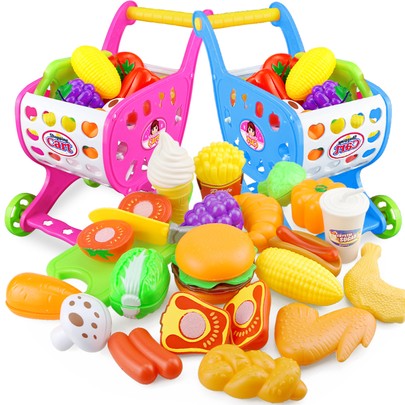 22PCS Kitchen Toy Shopping Cart Set Pretend Play House Plastic Cutting Fruit  Vegetables Miniature Food Girls Educational Toys