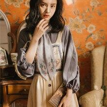 Новинка, Модный женский комплект из двух предметов, Ретро стиль, рубашка на бретелях, двухсекционное платье, весна и осень