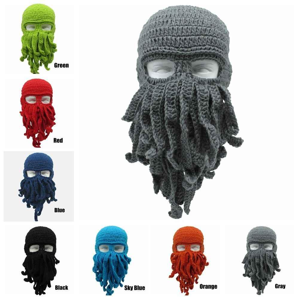5ad2bade0 Novelty Handmade Funny Tentacle Octopus Hat Crochet Cthulhu Beard Beanie  Men's Women's Knit Wind Mask Cap Halloween Animal Gift