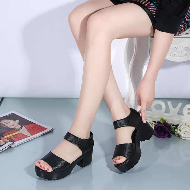 Platform sandaletler yaz kadın ayakkabı Bohemia kadın sandalet konfor bayanlar ayakkabı kadın Sandalie balık ağzı kare topuk sandalet