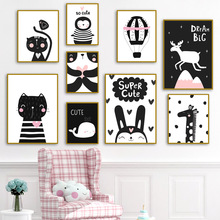 Pink Heart Panda Deer Whale Giraffe Wall Art Canvas Painting Animal Nordic Posters And Prints Girl Pictures For Kids Room