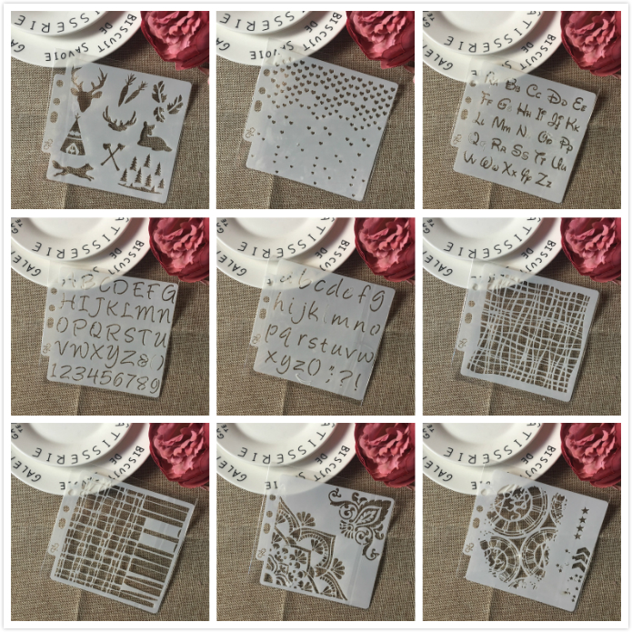 9Pcs/Set 14cm Alphabet Letters Gear DIY Layering Stencils Painting Scrapbook Coloring Embossing Album Decorative Card Template