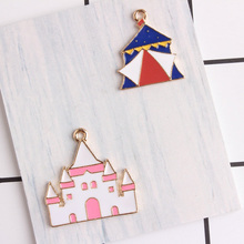 60pcs castle charms 29*29mm diy jewelry alloy gold color enamel 21*25mm Yurts tent charms pendant for bracelet CH0218