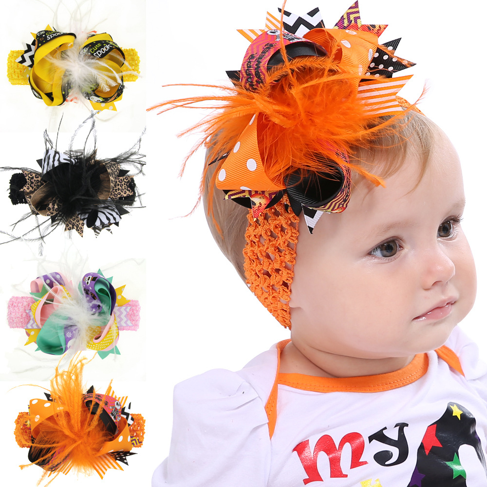 Children Halloween Bow Pumpkin Baby Headband Hair Rope Headwear Cute