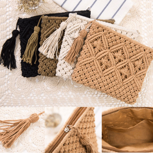 Coin Purses & Holders Coin Purses Fashion Women Straw Purse Ladies Straw Beach Coin Wallet Shoulder Bag Round Fluffy Woven Travel Holiday Tote Handbag
