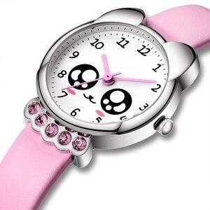 Image 2 - KDM ガール腕時計子供かわいい目ダイヤモンド防水本革腕時計素敵な子供子供たちは、学生時計