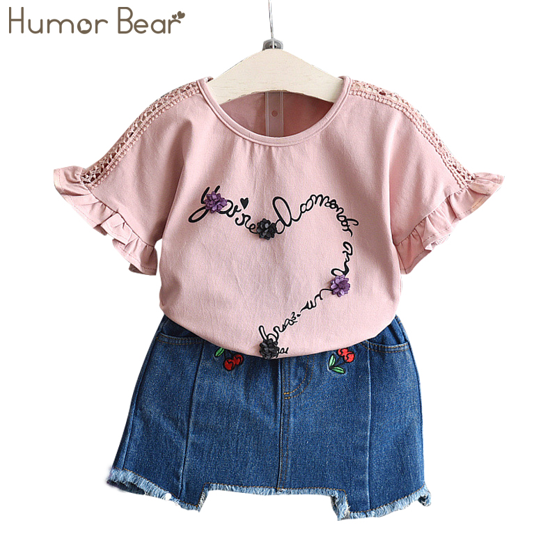 Humor Bear Kids clothes NEW 2017 Summer Fashion Style Flowers T Shirt Cowboy Dress 2Pcs Girls