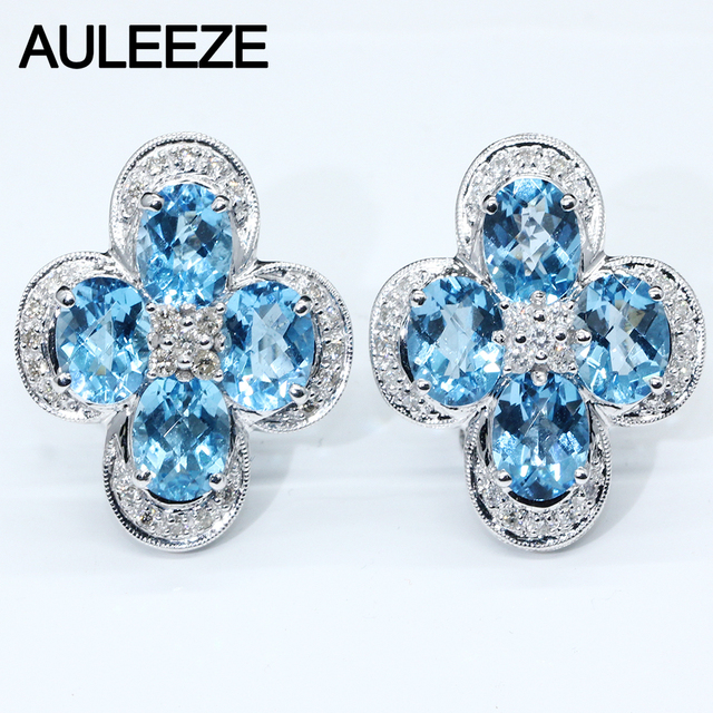 14K White Gold Clip Earrings For Women Oval Cut Natural Topaz Gemstone Jewelry Natural Real Diamond Wedding Engagement Earrings
