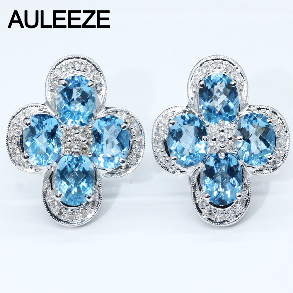 Boucles d'oreilles Clip en or blanc 14 K pour femmes taille ovale topaze naturelle bijoux en pierres précieuses naturel véritable diamant boucles d'oreilles de fiançailles de mariage