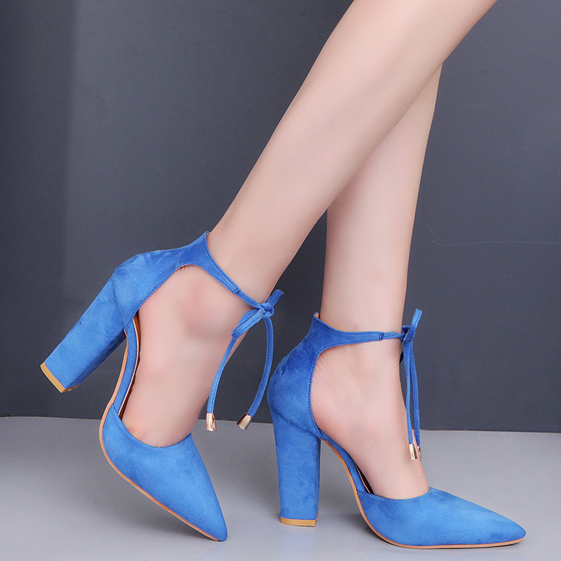 Summer Shoes Woman Sandal High Heels Ankle Strap Shallow Mouth Cusp Lace-Up Fashion Solid Cover Heel Square Heel High 10.5 CM solid color multi hemp strap crisscross stiletto high heel sandals fashion ankle lace up knot embellished sandal shoes