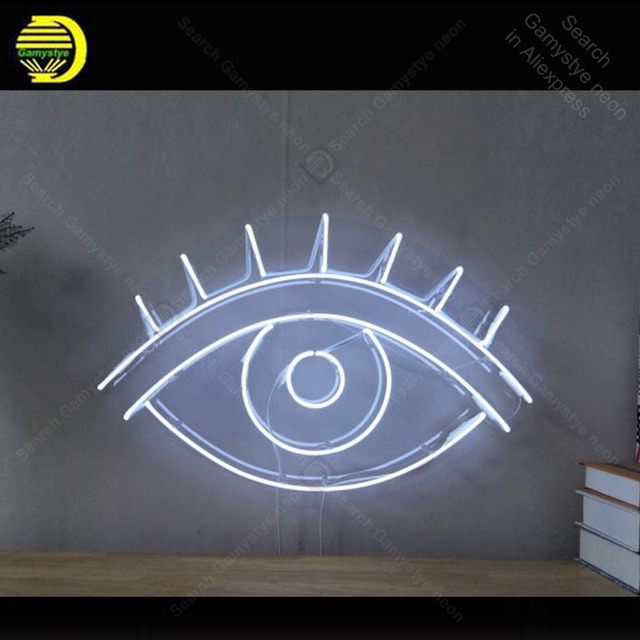 60a602ea84 White EYE Neon Sign Glass Tube Handmade Avize neon light Sign Decorate Home  Restaurant Game room Iconic Neon Lamps Advertise