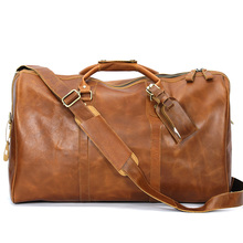 100% Genuine Leather Travel Duffel Bag Boarding Luggage Garment Bag Laptop Tote Carry On for men weekend  bag
