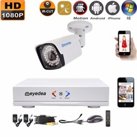 Eyedea 4CH HDMI DVR NVR Recorder 1080P 2 0MP 5500TVL Realtime Bullet Night Vision Outdoor Waterproof