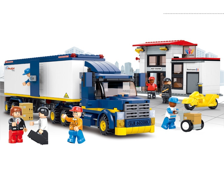 sluban 537pcs container cargo team truck gas station sets educational toys compatible with lego christmas gifts for children in blocks from toys hobbies
