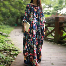 New 2019 clothes Women dresses Autumn Casual loose Long Sleeve Floral boho style Cotton linen Maxi Dress CUERLY
