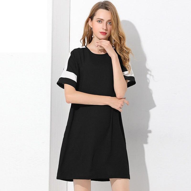 2017 Femmes Dames Bureau En Plus D'été Lâche Robes Soirée De Mousseline Taille Parti Noir Soie Robe Piste 5xl La Club Casual L'ukraine Plage rrw7q