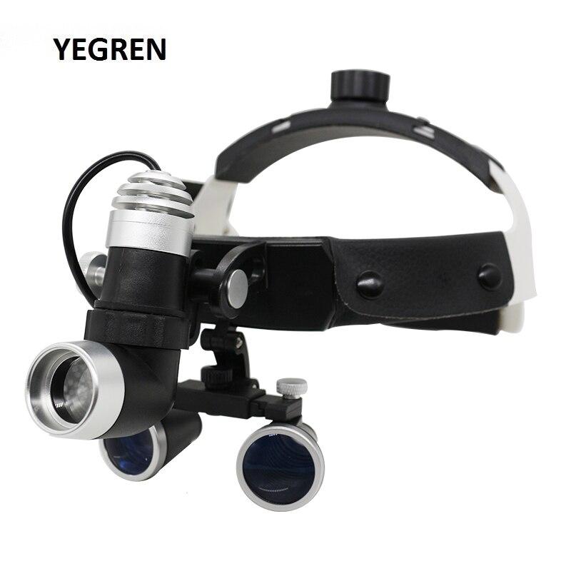 2.5X/3.5X Iluminado Capacete Lupa Binocular Dental Lupas com LED Ajustável Farol Dental para A Operação de Cirurgia Médica