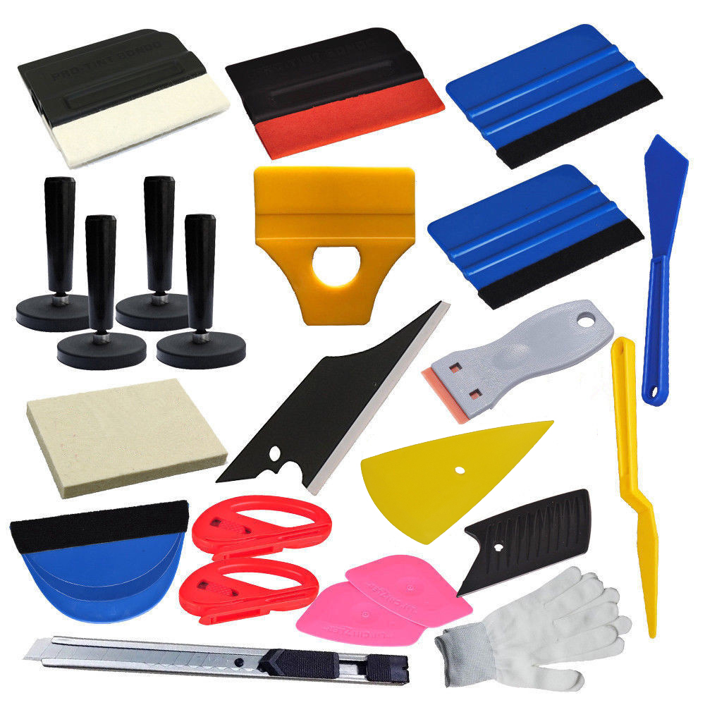 Car Wrap Vinyl Squeegee Tool Kit Razor Wrapping Gloves 4 Magnets holder Combo Set