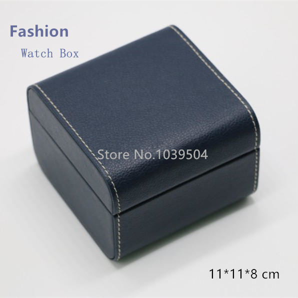f8727fba6 أعلى كانليتي الأزرق جلدية ووتش صناديق المواد الجلدية الفاخرة ماركة الساعات  شكل ساعة هدية حالة تخزين مربع مربع a068