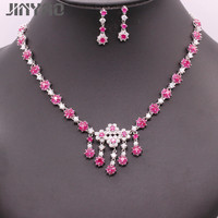 JINYAO Luxury Female Costume Jewelry Set for Women White Gold Color Flowers Red Zircon Necklace Earrings Wedding Party Set