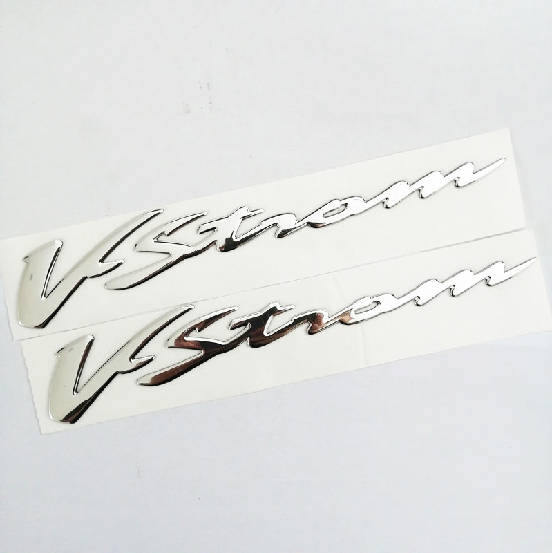1 Set 3D Chrome Motorcycle Emblem Badge Decals Scooter Reflective Stickers For Suzuki VSTROM 250 DL 650 1000
