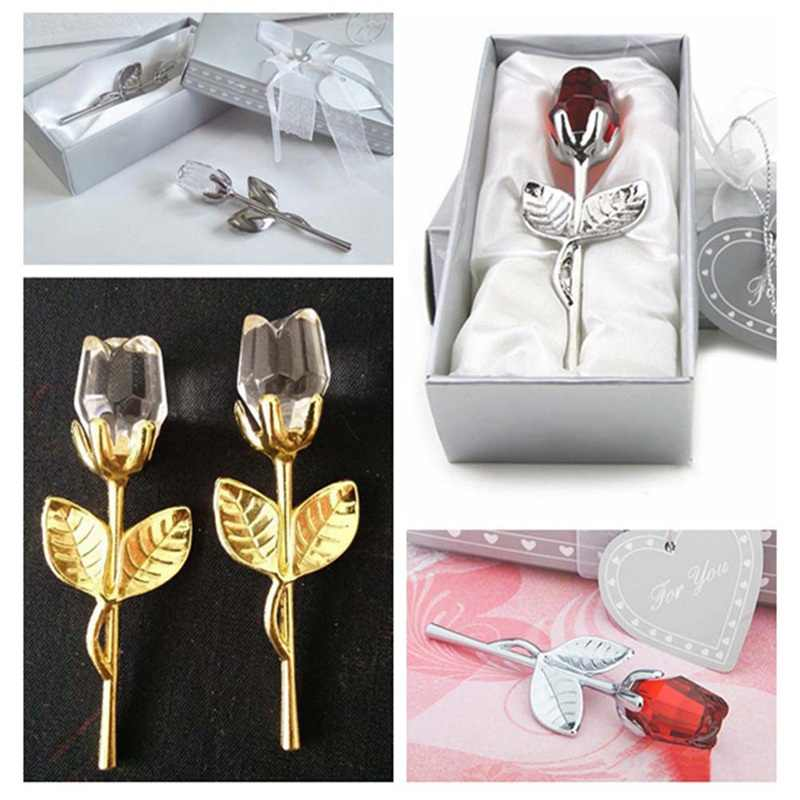 Table Decoration Ornaments Cheap Crystal Glass Rose Flower Figurines Craft Wedding Valentine's Day favors and gifts Souvenir