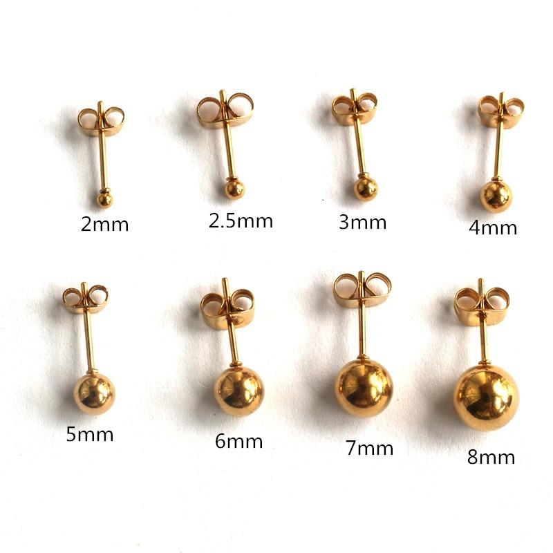 Титановые позолоченные маленькие серьги-гвоздики с шариками для мужчин и женщин от 2 мм до 8 мм