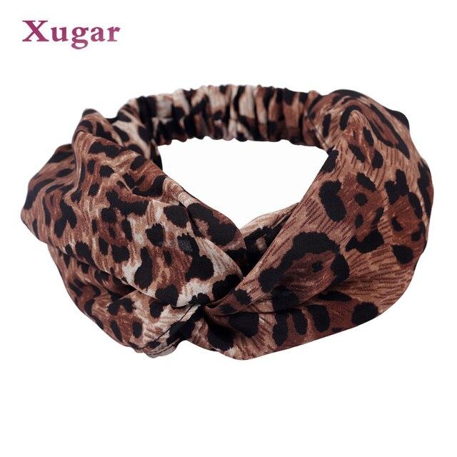 Leopardo impressão Cruz Torcida Atada Turban Hairband Estiramento Faixa de Cabelo Headband Para Mulheres Acessórios Para o Cabelo Headwear