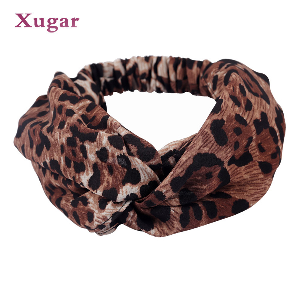 Printing Leopard Cross Headband For Women Turban Hairband Stretch Twisted Knotted Hair Band Hair Accessories   Headwear