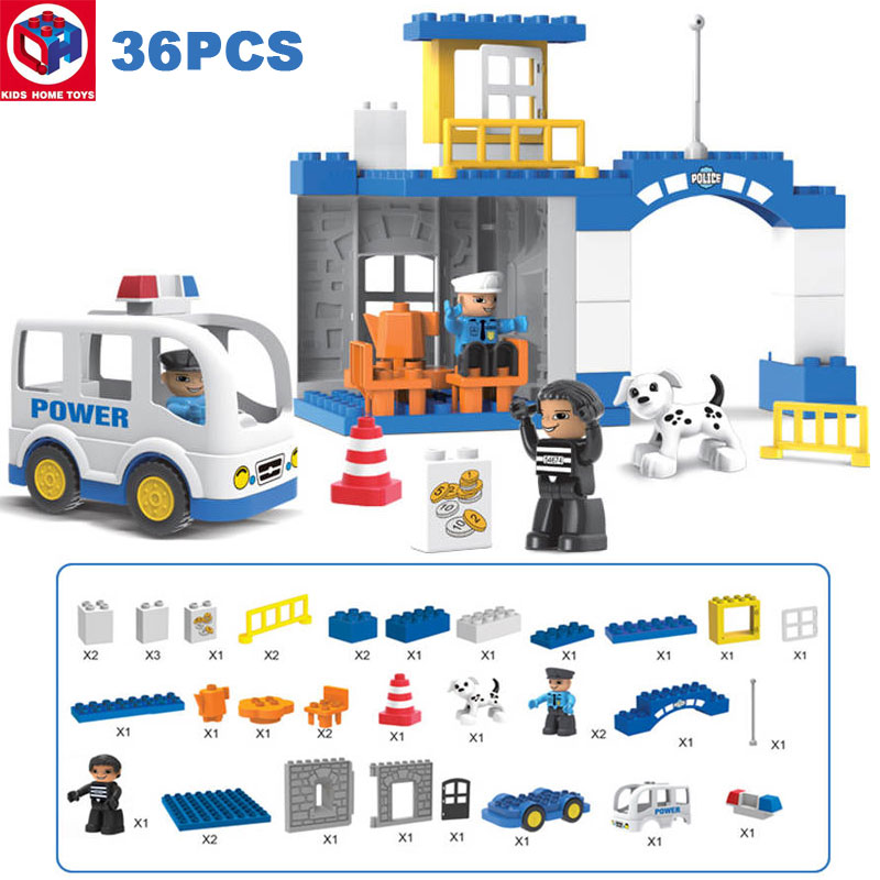 Kid's Home Toys City Police Station Police Office Duplo Large Particle City Policeman Figures Block Brick Toy Compatible Duplo large particle city supermarket model