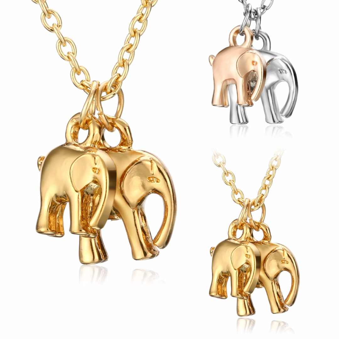 Vintage Double Elephant Pendant Necklaces Charm Silver Gold Mom and Baby Long Chain Necklace collares Shellhard Mother Gift