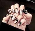 24 unids 3D Falsas Uñas Ongles Esmerilado Completo Nails Tips Arte Decoración Salón DIY Manicura Decoración Rhinestone para La Señora belleza