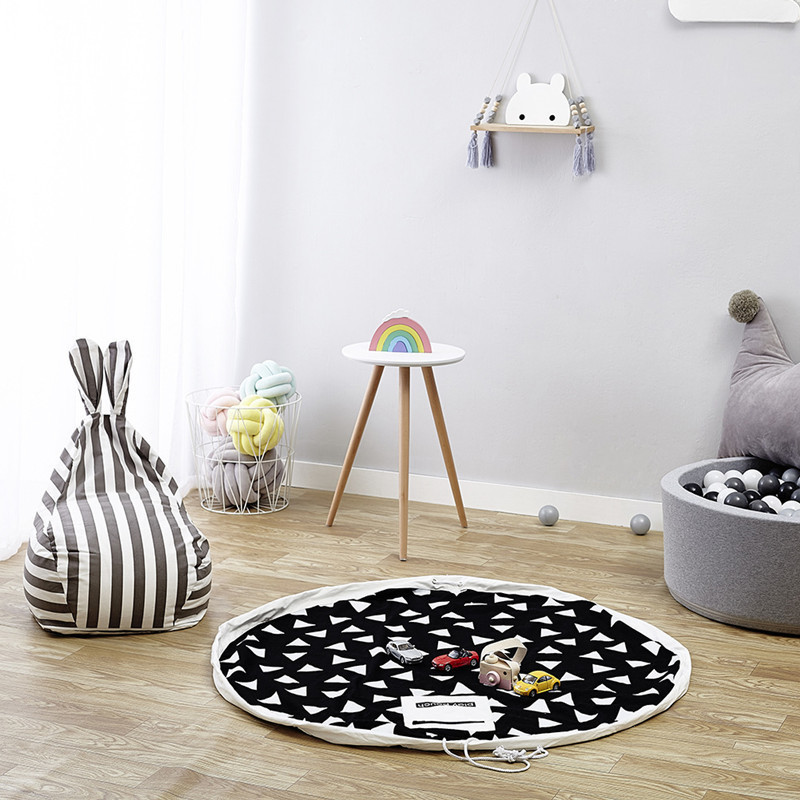 140CM Kids Play Game Mats Round Carpet Rugs Mat Cotton Swan Crawling Blanket Floor Carpet For Kids Room Decoration INS Baby Gift