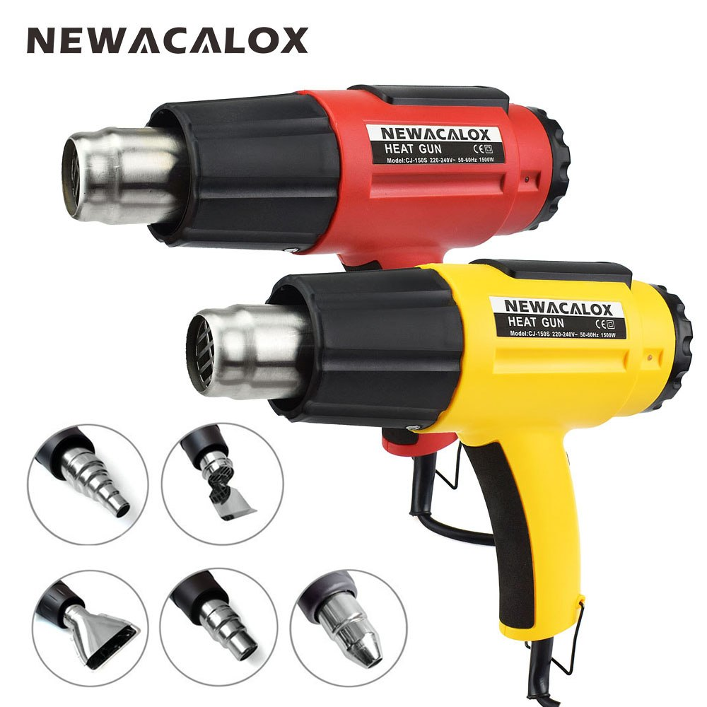 NEWACALOX 1500W 220V EU Plug Adjustable Heat Gun With 5 Pieces Nozzles Thermal  Blow Dryer Thermoregulator Electric Hot Air GunNEWACALOX 1500W 220V EU Plug Adjustable Heat Gun With 5 Pieces Nozzles Thermal  Blow Dryer Thermoregulator Electric Hot Air Gun