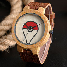 Modern Creative Wood Watch Pokemon Pokeball Bamboo Simple Genuine Leather Band Strap Quartz Watch Men