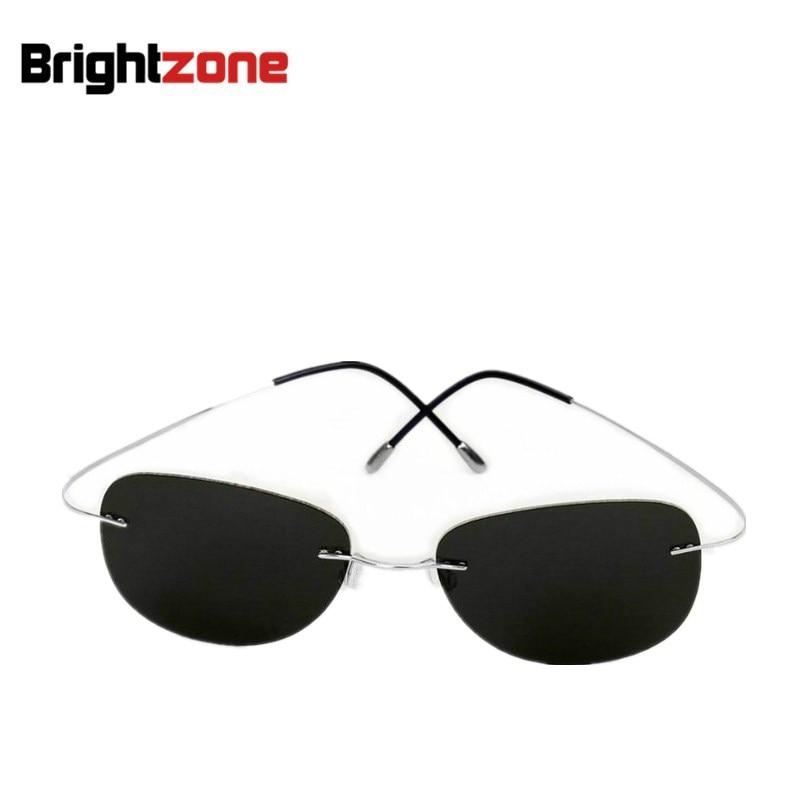2018 NEUE Kühle 100% Reinem Titan Randlose Sonnenbrille Polarisierte Linsen  Grau Super Dünne Linsen Sun-schatten UV schutz UV400 oculos a653b24e28