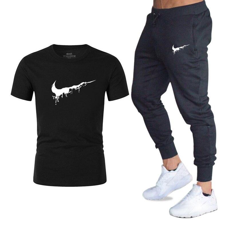 2019 Fashion 2pcs Summer New Mens T-shirt Casual Suits Sportswear Mens Clothing Man Sets Tops+pants Male Sweatshirt Men Brand T Shirt Set Luggage & Bags