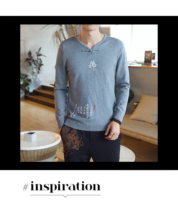 Chinese style Buddha embroidery Pull Homme Pullover Men spring autumn Casual sweater knit leisure Jersey Hombre Cotton v-neck 72