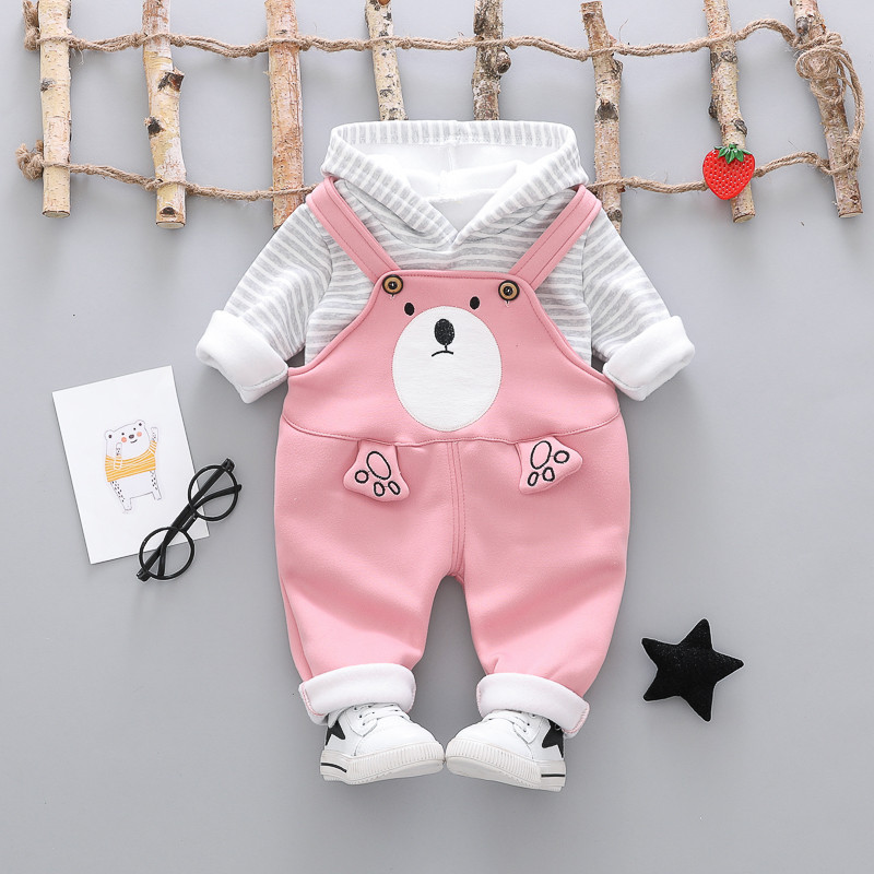 Cotton clothing sets cartoon thick woolen kid suit children set baby clothing boys clothing girl clothing baby clothes